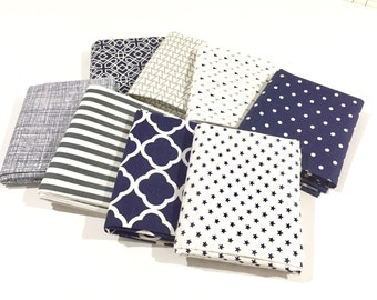 Navy and Gray Fabric Bundle - Quilting Quality Cotton Fat Quarter Fabric Bundle Ideal For Baby Nursery & Quilt Making