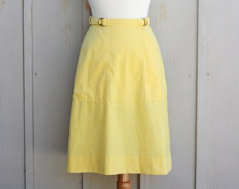 Yellow Cotton Skirt - Vintage Wrap Skirt - Retro A Line Skirt - High Waist Midi Skirt - Mod Skirt - 60s Skirt - Hippie Skirt - Folk Skirt
