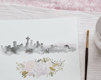 Custom City Watercolor Skyline