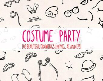 Costumes - 100+ Fancy Dress Up Illustrations - Vector Graphics Bundle!