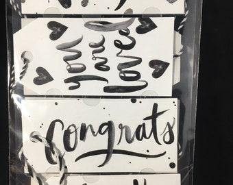 Black & White Brushy Sentiment Tags Jolees Boutique