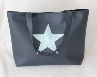 Blue silver gray faux with big star handbag