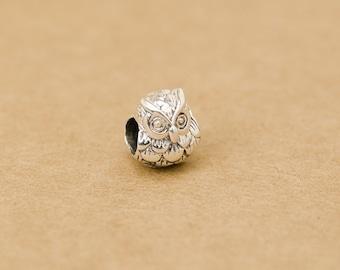 925 sterling silver owl beads animal beads bird beads european beads big hole beads