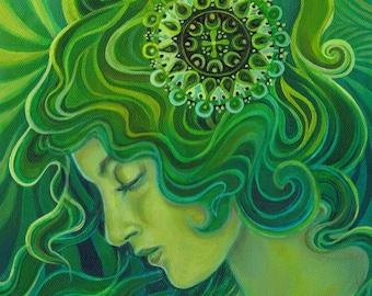 Green Goddess Gaia ACEO ATC Altar Art Fine Art Print Pagan Mythology Art Nouveau Emerald Psychedelic Gypsy Goddess Art