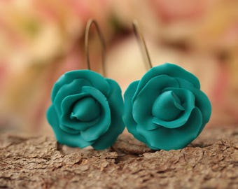 Turquoise rose earrings, bridesmaid gift earrings, blue roses, Wedding Bridal Birthday, gift for her, romantic earrings, valentines gift