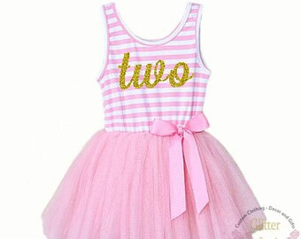 Second Birthday Dress/Pink and Gold / Gold Letter Two / Toddler Tutu Dress / 2nd Birthday Dress / Cake Smash Outfit
