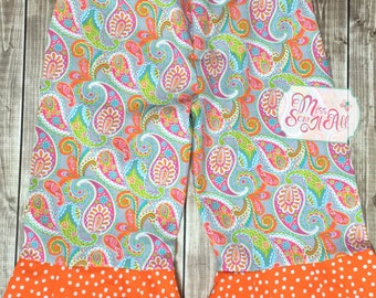 Girls Custom Paisley Pants, Girls Fall Pants, Girls Fall Handmade Pants, Girl Handmade Paisley Pants