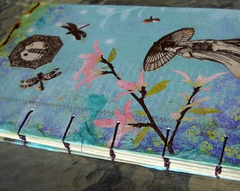 Far East Coptic Stitched Upcycled Decoupage Journal