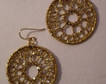 Gypsy Bohemian Gold Crochet Hoop Earrings  MMJewelryCollection  We Ship Internationally