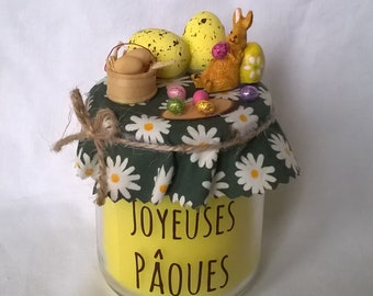 """""""Happy Easter"""" Easter eggs and Bunny yellow candle"""