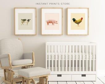 Pig Cow Rooster Set of 3 Farm Animal Prints Nursery Kids Printable Art Wall Decor Children's Modern Geometric Polygonal Animals Artwork