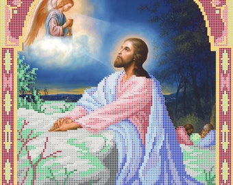Jesus on Mount of Olives religious picture DIY bead embroidery set craft kit beading on needlepoint