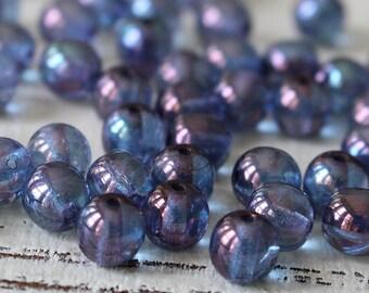 6mm Round Glass Beads - Jewelry Making Supply - 6mm Druk Beads - Czech Glass Beads - Amethyst Luster - Choose Amounts