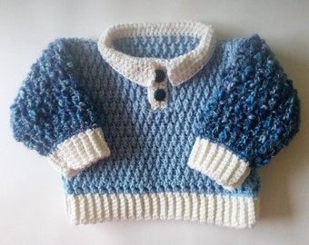 Baby sweater blue and white, baby jumper with collar, wool cashmere, 18in baby sweater, hand crochet baby clothes, toddler jumper, baby boy