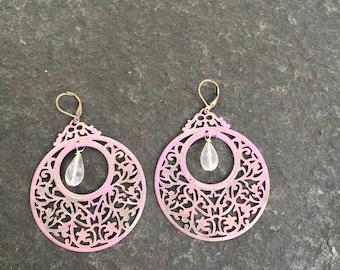 Rose Quartz and Pink Patina Lace metal Filigree Earrings  Shabby Chic Patina Earrings  Rose Quartz Teardrops   Pink Filigree Earrings