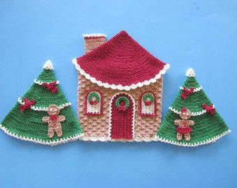 PDF Crochet Pattern- Christmas in Gingerbread Land Decorative Potholders or Wall Art