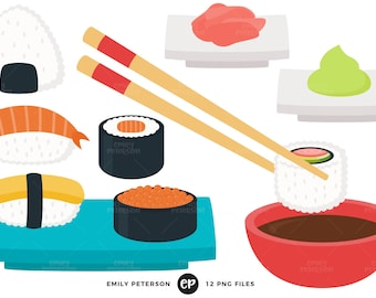 50% OFF SALE! Sushi Clip Art, Japanese Clipart, Chopsticks Clip Art - Commercial Use, Instant Download