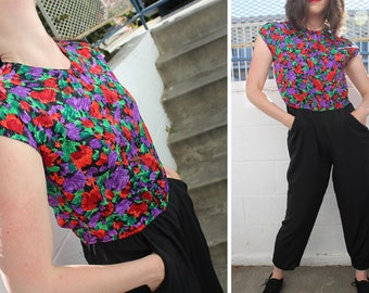Vintage 1980s Floral Topped Jumpsuit // Party Jumpsuit // Daytime Nighttime Jumpsuit // Sleeveless Romper // Patterned Romper