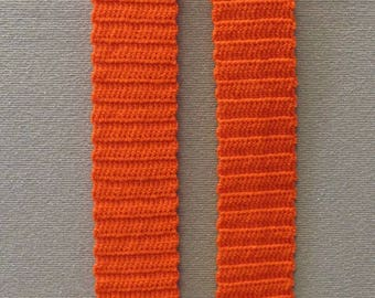 Hand Crocheted Scarf (Handmade, Bright, Neon, Orange)
