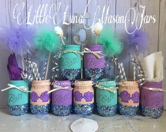 Purple and teal mermaid mason jar party set, birthday party centerpiece, room decor, desk decor