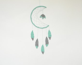 Mint Grey Dream catcher mobile Dream catcher wall hanging Felt dream catcher decor Boho dreamcatcher Crescent Moon Dream Catche