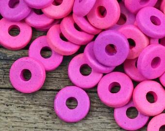 8mm Washer Round - Hot Pink Mix - Mykonos Greek Ceramic Beads - QTY: 50, 100 or 150