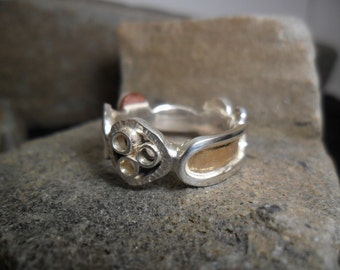 """Sterling silver, copper and yellow gold ring """"to variable mood"""""""