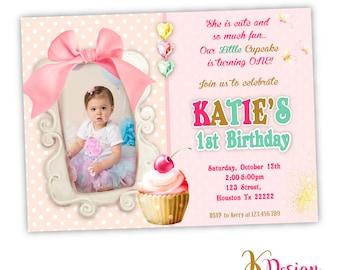 Cupcake Birthday Invitation, Printable invitation , Cupcake invitation