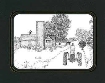 """Pen and Ink """"Going Home""""  Tractor and Barn drawing by Artist Becky Terpening of TerpCreek"""