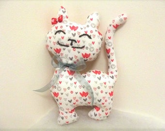 Cuddly kitten, little cat gift, baby, white, red, gray, heart, toy, toy, unique, handmade, France, passionnementseize