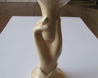 Vintage Hand Vase USA Pottery Ceramic