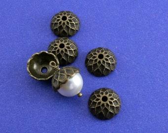 5, 10, 15 pcs- Acorn Bead Cap, Antiqued Brass Acorn Beadcap, Antiqued Bronze Acorn Cap - AB-B41358-8S
