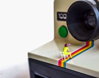 DIGITAL DOWNLOAD, art photography, miniature people, polaroid,decoration home,polaroid camera,selfie,miniature,design,digital art,camera