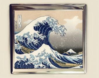 Great Wave Over Kanagawa Cigarette Case Business Card ID Holder Wallet Japan Japanese Woodblock Fine Art