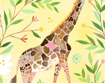 Giraffe paper print | Nursery Decor | Safari Animals | Katie Daisy