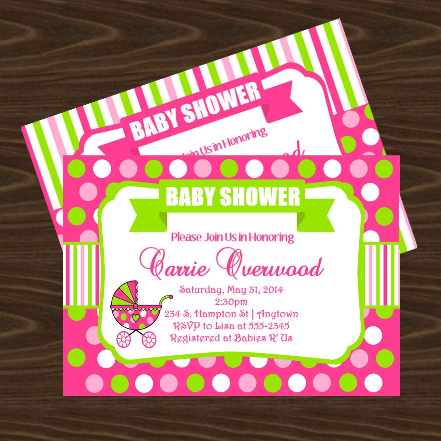 Pink and Green Polka Dots Baby Shower Invitation Thank You