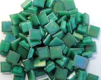 "100 Jade Green MINI Iridescent Vitreous Glass Mosaic Tiles 3/8""//Mosaic Supplies//Mosaic Pieces"
