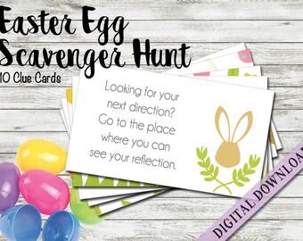 Easter basket etsy easter egg hunt clue cards easter bunny cards easter scavenger hunt easter basket negle Image collections