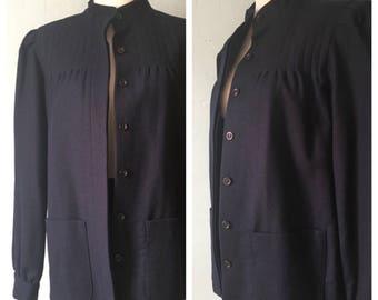 Vintage Deadstock 1960s Navy Blue Wool Coat Jacket