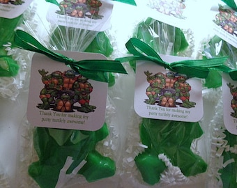 10 Ninja Turtle Soap Favors, Birthday Party Favors Complete with Packaging, Children, Parties, Special Occasions