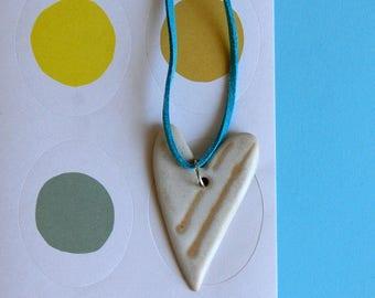 Ceramic heart Pottery heart Handmade heart Clay heart Short necklace Heart necklace Birthday gift Handmade gift Handmade necklace