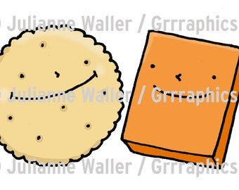 Power couples - crackers and cheese digital illustration