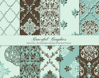 Scrapbook Paper Pack Digital Scrapbooking Background Papers Classic DAMASK 10 Sheets 8.5 x 11 Mint Green Brown 1063gg