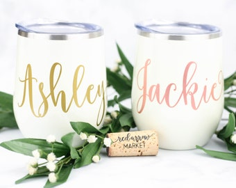Personalized Pearl White Wine Tumbler, Custom Wine Glass, Stainless Steel Tumbler, Bridal Party Favors, Personalized Gift, Pearl White