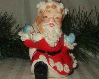 Vintage Irice Spaghetti Santa Claus 1950's Irice Christmas decor spaghetti porcelain collectible Santa vase Christmas vase