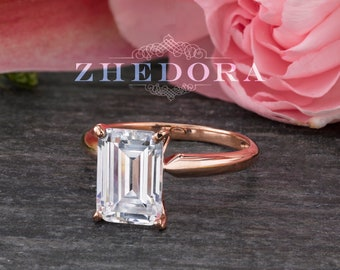 2.5 CT Emerald Cut Solitaire Engagement Ring in Solid Rose 14k/18k Gold, Emerald Cut Engagement Ring, Rose Gold Emerald Cut Ring, Moissanite