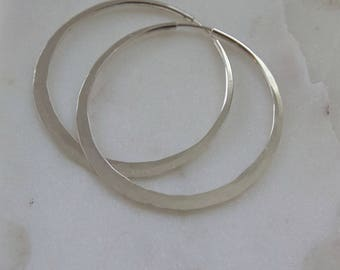 "2"" Hammered Sterling Silver Hoop Earrings (EH6)"