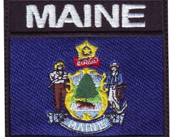 Maine Badge Flag Embroidered Patch
