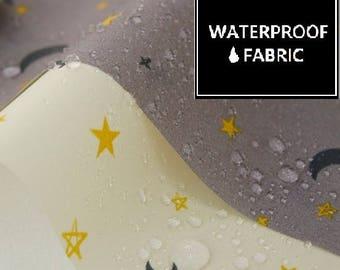 """WATERPROOF Fabric -Night Sky Pattern, by Yard, 150cm(59"""") Width"""