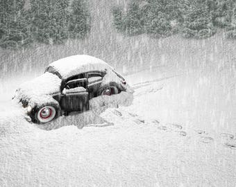 Black VW Beetle stranded in the snow colour photographic print